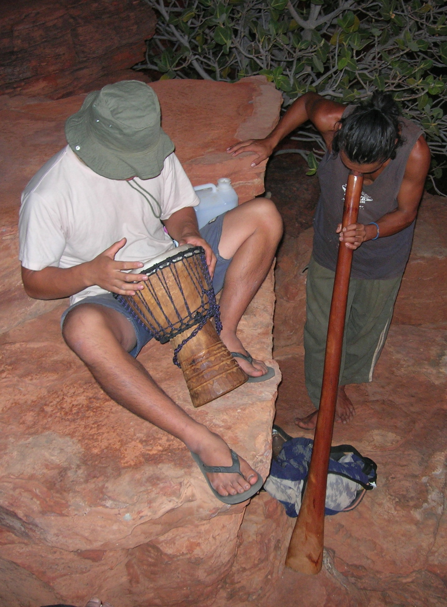 Make time to make music. The guy on the right got up at 4 am to play his dig at sunrise. The Digeridoo also vibrates your body on a sub atomic level which helps to relax.